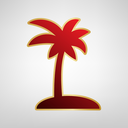 Coconut palm tree sign. Vector. Red icon on gold sticker at light gray background.