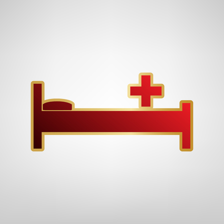 Hospital sign illustration. Vector. Red icon on gold sticker at light gray background.