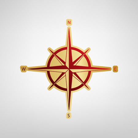 Wind rose sign. Vector. Red icon on gold sticker at light gray background.