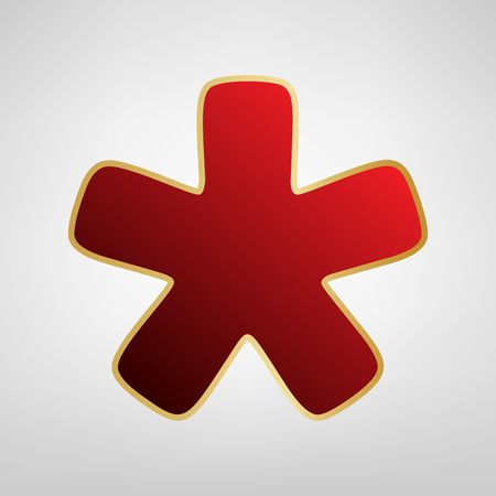 Asterisk star sign. Vector. Red icon on gold sticker at light gray background.