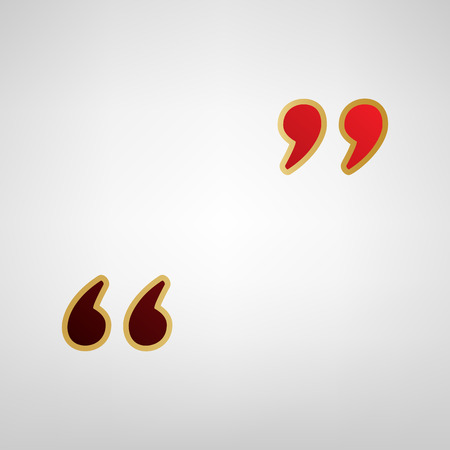 Quote sign illustration. Vector. Red icon on gold sticker at light gray background.