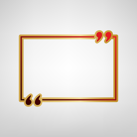 Text quote sign. Vector. Red icon on gold sticker at light gray background.