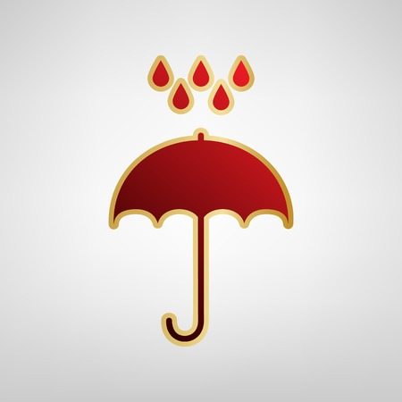 Umbrella with water drops. Rain protection symbol. Flat design style. Vector. Red icon on gold sticker at light gray background. Illustration