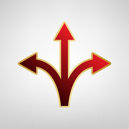 Three-way direction arrow sign Vector Red icon on gold sticker at light gray background.