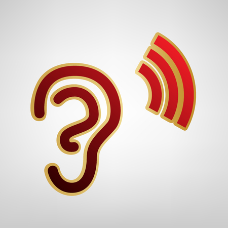 Human anatomy. Ear sign with soundwave. Vector. Red icon on gold sticker at light gray background.