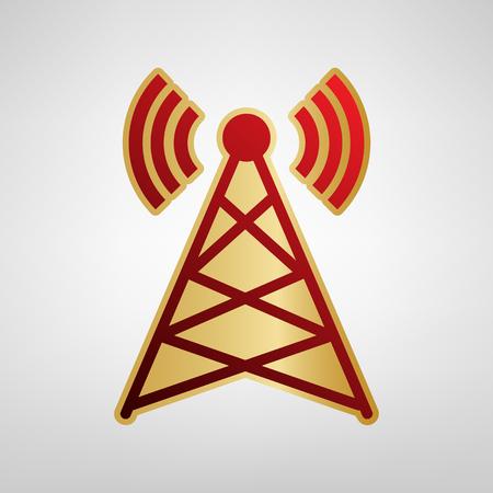 Antenna sign illustration. Vector. Red icon on gold sticker at light gray background. Illustration