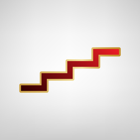 Stair up sign. Vector. Red icon on gold sticker at light gray background.