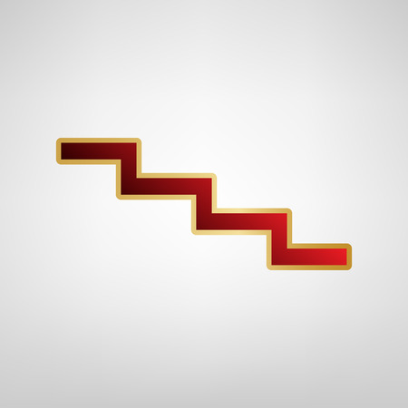 Stair down sign Vector Red icon on gold sticker at light gray background. Illustration