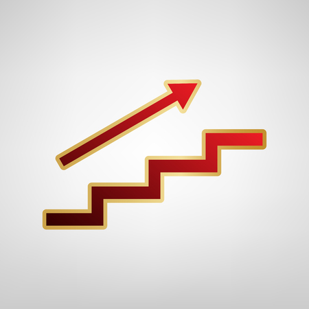 Stair with arrow. Vector. Red icon on gold sticker at light gray background. Illustration