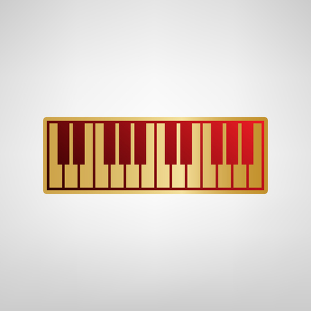 Piano Keyboard sign. Vector. Red icon on gold sticker at light gray background.