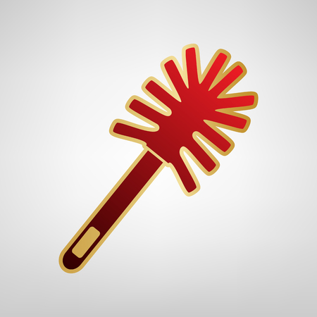 Toilet brush doodle Vector Red icon on gold sticker at light gray background.
