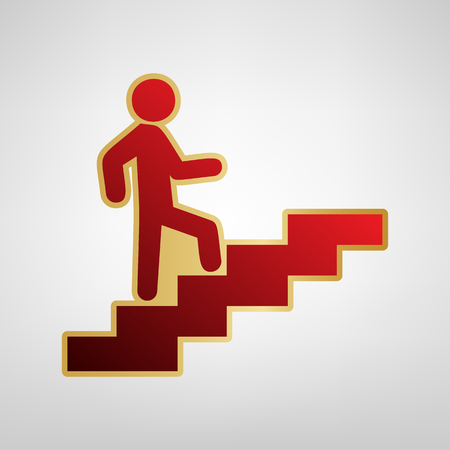 Man on Stairs going up. Vector. Red icon on gold sticker at light gray background.