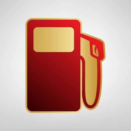Gas pump sign. Vector. Red icon on gold sticker at light gray background.