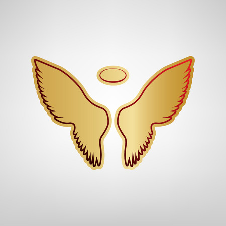 Wings sign illustration. Vector. Red icon on gold sticker at light gray background.