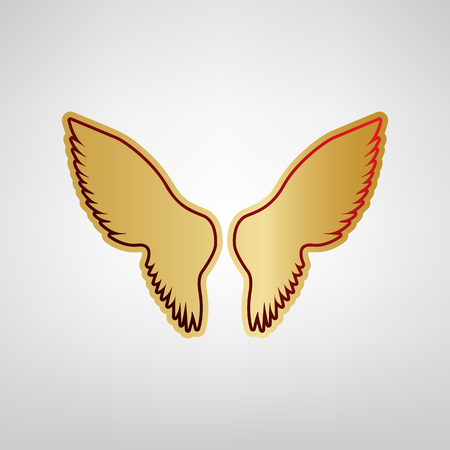 Wings sign illustration. Red icon on gold sticker at light gray background.