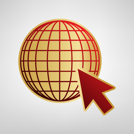 Earth Globe with cursor. Vector. Red icon on gold sticker at light gray background.