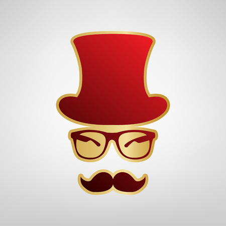 Hipster accessories design. Vector. Red icon on gold sticker at light gray background. Illustration