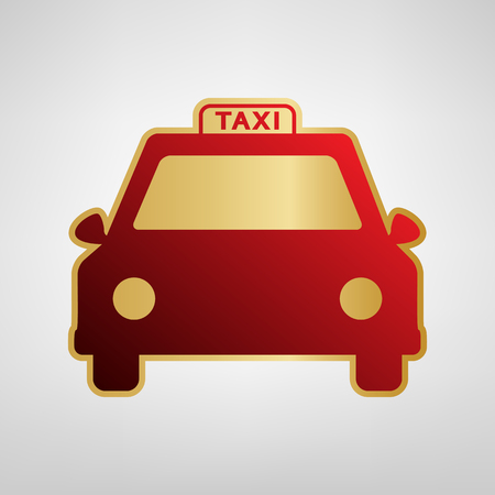 Taxi sign illustration. Vector. Red icon on gold sticker at light gray background.