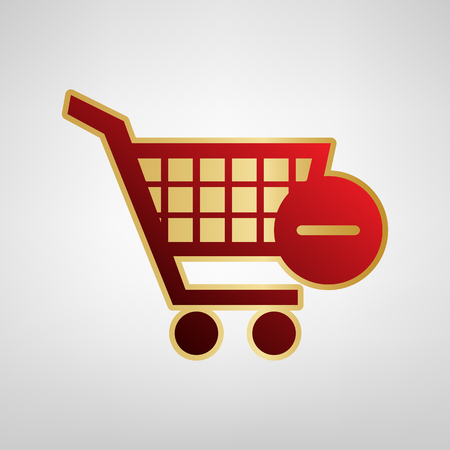 A Vector Shopping Cart with Remove sign. Vector. Red icon on gold sticker at light gray background.
