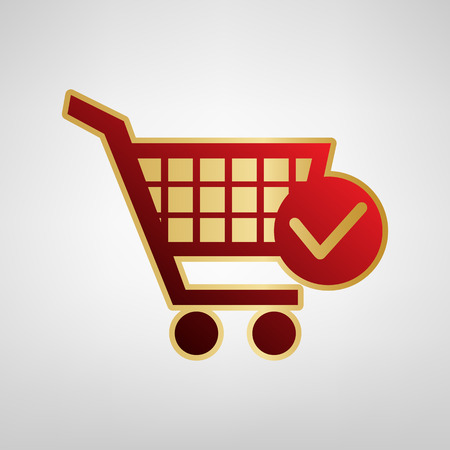 Shopping Cart with Check Mark sign. Vector. Red icon on gold sticker at light gray background.