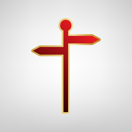 navigational light: Direction road sign. Vector. Red icon on gold sticker at light gray background.