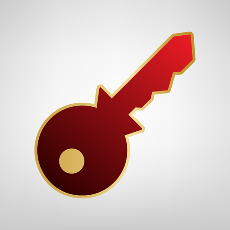 Key sign illustration. Vector. Red icon on gold sticker at light gray background.