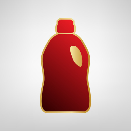 Plastic bottle for cleaning. Vector. Red icon on gold sticker at light gray background.