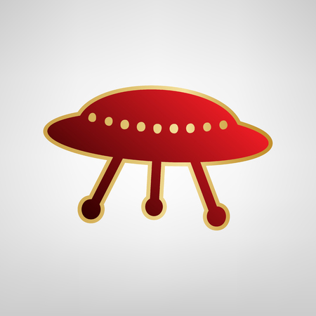 UFO simple sign. Vector. Red icon on gold sticker at light gray background.