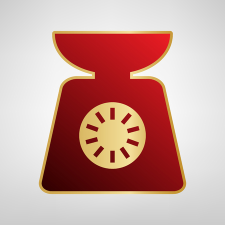 Kitchen scales sign. Vector. Red icon on gold sticker at light gray background. Illustration