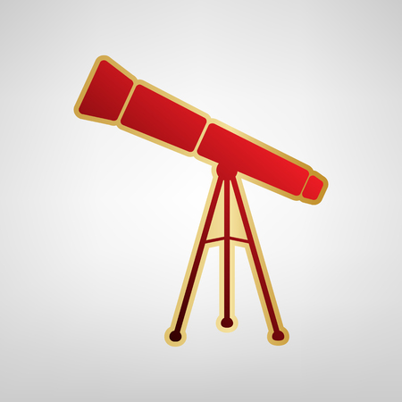Telescope simple sign. Vector. Red icon on gold sticker at light gray background.