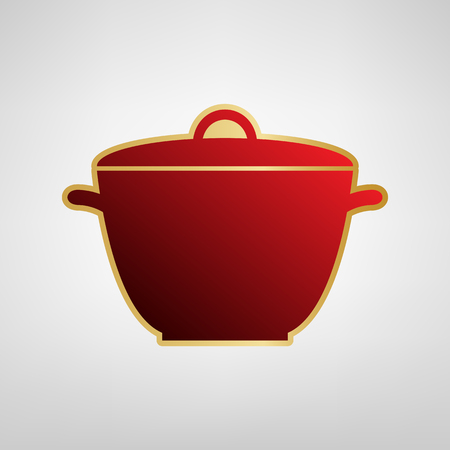 Saucepan simple sign. Vector. Red icon on gold sticker at light gray background. Illustration