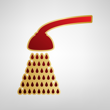 Shower simple sign. Vector. Red icon on gold sticker at light gray background.