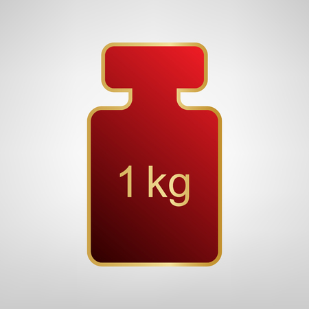 Weight simple sign. Vector. Red icon on gold sticker at light gray background.