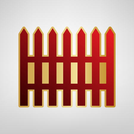 Fence simple sign. Vector. Red icon on gold sticker at light gray background. Illustration