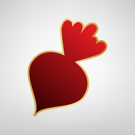 Beet simple sign. Vector. Red icon on gold sticker at light gray background.