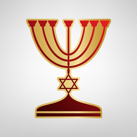 Jewish Menorah candlestick in black silhouette. Vector. Red icon on gold sticker at light gray background. Illustration