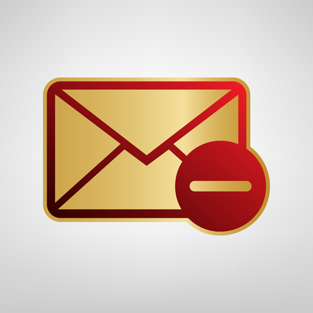 Mail sign illustration with remove mark. Vector. Red icon on gold sticker at light gray background.