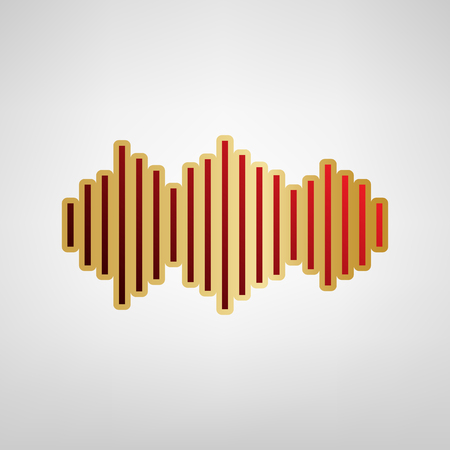 Sound waves icon. Vector. Red icon on gold sticker at light gray background.