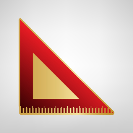 Ruler sign illustration. Vector. Red icon on gold sticker at light gray background.