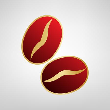 커피 콩 서명입니다. 벡터. 밝은 회색 배경에서 골드 스티커에 빨간색 아이콘. 일러스트