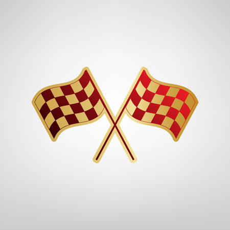 Crossed checkered flags logo waving in the wind conceptual of motor sport. Vector. Red icon on gold sticker at light gray background.