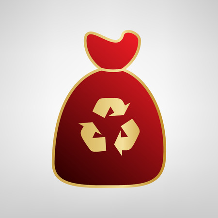 Trash bag icon. Vector. Red icon on gold sticker at light gray background.