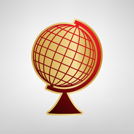 Earth Globe sign. Vector. Red icon on gold sticker at light gray background.