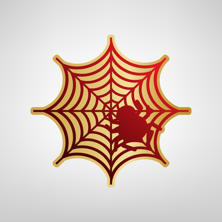 Spider on web illustration. Vector. Red icon on gold sticker at light gray background.