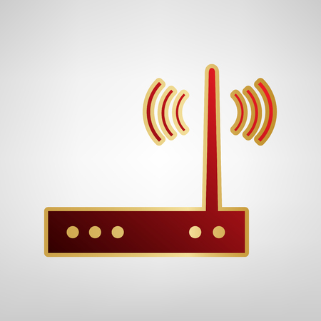 Wifi modem sign. Vector. Red icon on gold sticker at light gray background.