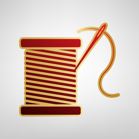 Thread with needle sign illustration. Vector. Red icon on gold sticker at light gray background.