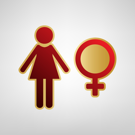 Female sign illustration. Vector. Red icon on gold sticker at light gray background. Illustration