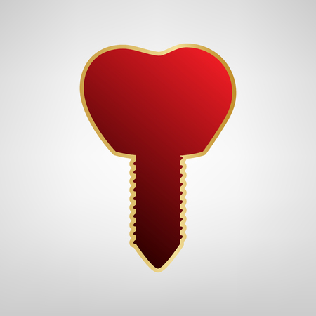 Tooth implant sign illustration. Vector. Red icon on gold sticker at light gray background. Illustration
