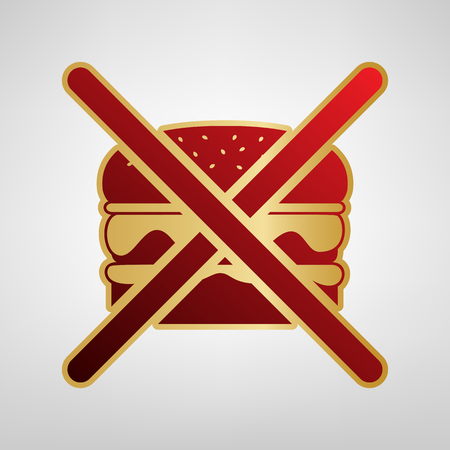 No burger sign. Vector. Red icon on gold sticker at light gray background.