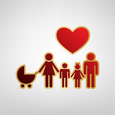 Family sign with heart. Husband and wife are kept childrens hands. Vector. Red icon on gold sticker at light gray background. Illustration